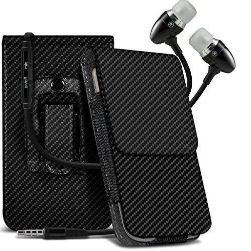 N4U Online - Apple iPhone 5 S Karbonfaser Tasche Gürtel Holster Schutzhülle Handytasche & Freisprecheinrichtung mit Mikrofon