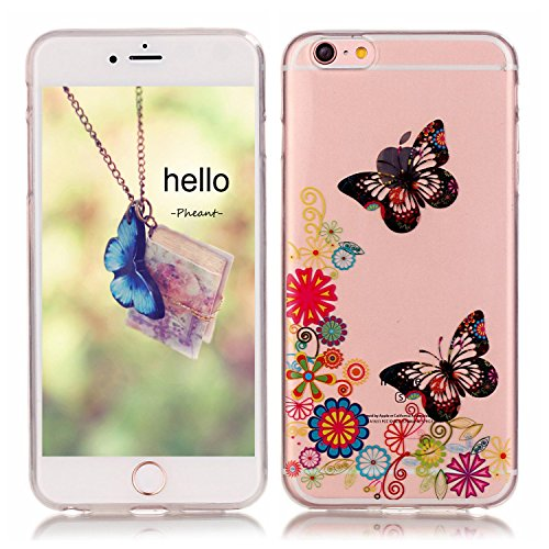 Pheant® Apple iPhone 6/6S (4.7 pouces) Coque Gel Étui Housse de Protection Transparent Cas en TPU Soulple Silicone(Coloré Plume) Papillon