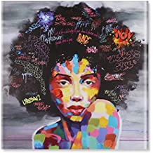 Raybre Art® 100cm x 100cm Impresión sobre Lienzo sin marco - Mujeres India Africanas con ojos abiertos - Cuadro Abstractos Modernos Colores Pintura al óleo para Arte Pared Decoración Hogar Sala