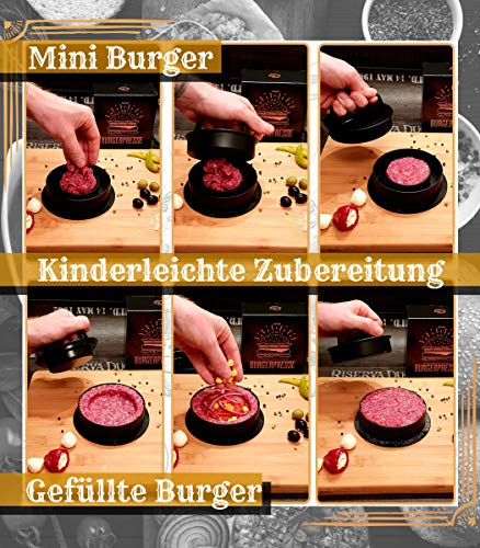 51iGPfQdqTL - Le Flair XXL Burgerpresse-Set 4 in 1 -NEUES Modell 2019- mit E-Book | Burger Pattie Presse für Hamburger ideales Grillzubehör BBQ mit Backpapier Patty Maker Burger zum Grillen | Deutsche Marke