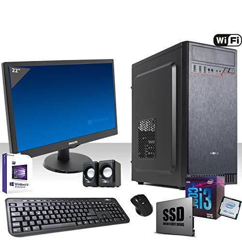 PC Komplettes Intel I3-9100F 4,2 GHZ 9° Generation,Lizenz Windows 10 pro 64 bit/WiFi 300 Mbps/Ssd 240 Gb/Ram 8gb ddr4 2400 MHz/DVD-Cd/Monitor 22