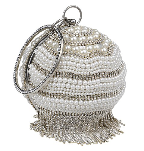 Santimon Delle Signore Di Pochettes Perle Strass Elegante Squisito Borse Rotonde Con La Cinghia argento