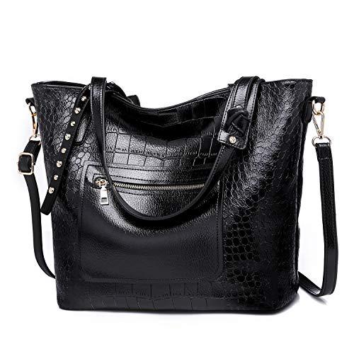 Valleycomfy Damen Tasche Einkaufstasche Pu Leder Handtasche Schultertasche(schwarz 2) -