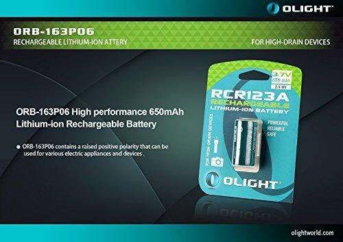 Olight® 16340 RCR123A Akkus Lithium-ion wiederaufladbar Batterie 3.7V 650mAh - 2-er Pack (original und geschützt) - 5