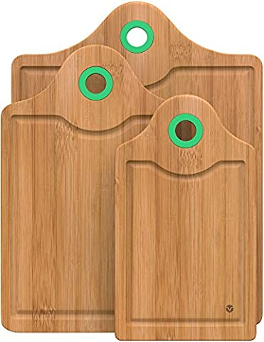 Vremi 3 Piece Bamboo Cutting Board Set - Small and Large Organic Wood Chopping Boards for Meat - Heavy Duty Wooden Board Tools with Silicone Storage Handle for Commercial and Kitchen Sink Use -