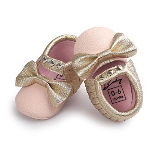 kingko® Moderne Baby Bowknot Streifen Baby Kleinkind SchuheBabyPrinzessin Soft Sohle Schuhe Kleinkind Turnschuhe Freizeitschuhe(Girl/Boys) Rosa