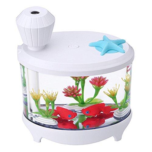 CAheadY Mini Aquarium Nebel Luftbefeuchter Nachtlicht USB Luftreiniger Büro Wohnkultur Feuchtigkeitsspendende Werkzeug Geschenk White