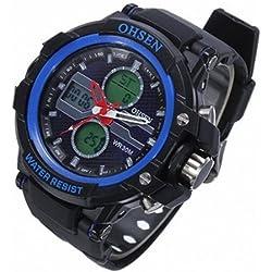 OHSEN YI-AD1306-3 Back Light Waterproof Sport Rubber Men Wrist Watch Blue