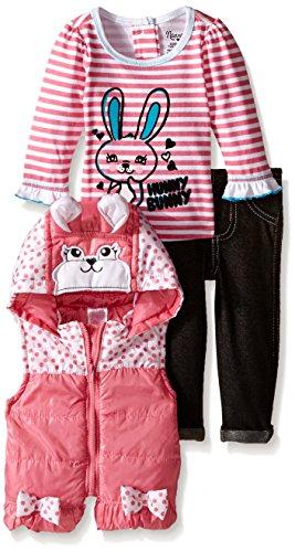 Nannette süßes Häschen Baby Mädchen Outfit Weste mit Kapuze + langarm Shirt + Leggings Hose (Hello Geburtstag Kitty Kleid)