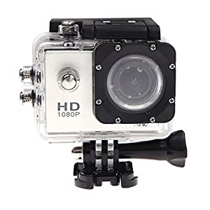 Andoer Mini DV Sport HD 1080P 12MP Caméra Etanche 30M caméscope étui DVR extérieure Casque de vélo (argent)