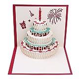 bloomeet 3d Pop-Up-Grußkarte Happy Birthday-Karte mit Umschlag, Geburtstag, für Familie & Freunde rot