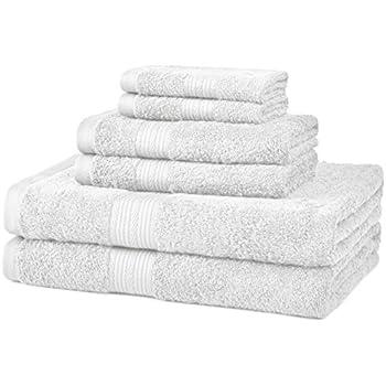 AmazonBasics Fade-Resistant Cotton 6-Piece Towel Set, White