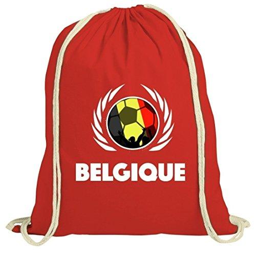 Belgium Belgique Soccer Fussball WM Fanfest Gruppen Fan natur Turnbeutel Gym Bag Fußball Belgien Rot Natur