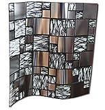 24 Cromo negro plateado Lámina impresa 2d PEGATINAS lisas para pegar sobre azulejos cuadrados de 15cm en cocina, baños - resistentes al agua y aceite