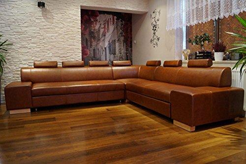 """Ecksofa \""""LONDON II RE 7z\"""" 302 x 277 Echtleder Sofa Couch mit Schlaffunktion , Bettkasten und Kopfstützen Echt Leder Eck Couch große Farbauswahl"""