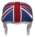 Casa Padrino Barock Fußhocker Union Jack / Silber – Hocker Englische Flagge- Antik Stil England - 2