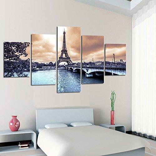 CXDM 5 Stück Leinwand Gemälde Paris Stadtbild Eiffelturm HD Poster Und Drucke Leinwandmalerei Für,B,20×35×220×45×220×55×1