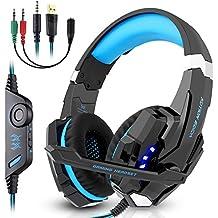 Casque Gaming ps4 Xbox One, Nasharia Casque g9000 avec Microphone 3,5 mm sur Earloop, lumières LED et contrôle du Volume pour Ordinateur Portable, PC, Mac, iPad, Ordinateur, Smartphone (Bleu)