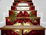 XXBFDT d'escaliersStickers Muraux Colle De Sol PVC - Stickers de Noël Nouveaux escaliers Cloches de Noël Stickers marches décoratifs Autocollants Stickers muraux Autocollants