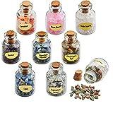 AITELEI Nature 9mini bottiglie di pietra preziosa Tumbled Stones chip che desiderano bottiglie cristallo guarigione Reiki Wicca di gemme set Jewelry making casa decorazione