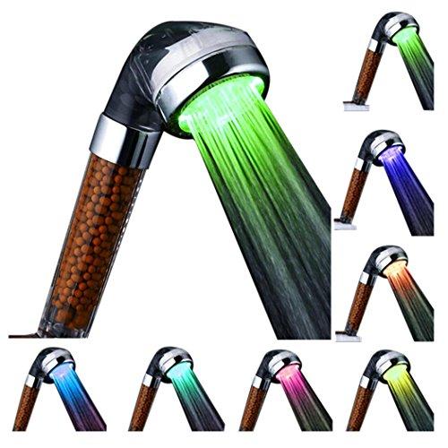 Preisvergleich Produktbild Duschkopf, Baymery LED Handbrause Filtration System 7 Farbe Handbrausen Regenfall Spa Handbrausen 22 * 6cm