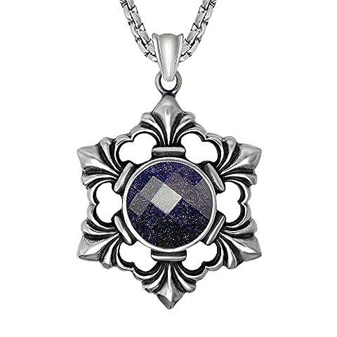 Mode Persönlichkeit Titan Stahl Eingelegtes Kristall Hexagramm Geschenk Unisex Halskette Anhänger ( Nur (Amethyst Hängende Uhr)