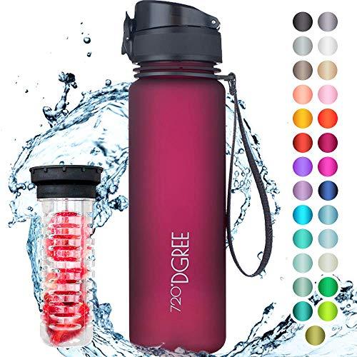 """720°DGREE Trinkflasche \""""uberBottle\"""" +Früchtebehälter - 500ml - BPA-Frei, Auslaufsicher - Für Kinder, Schule, Sport, Fitness - Schmale Wasserflasche aus Tritan - Leicht, Bruchsicher, Nachhaltig"""