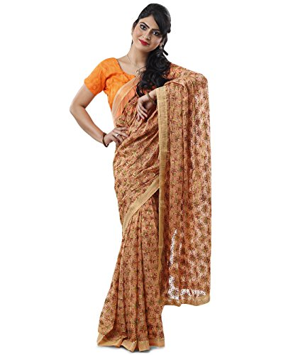 Peach Multi Phulkari Saree with Free Blouse