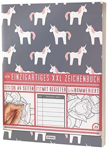 """Mein Einzigartiges XXL Zeichenbuch: 136 A4-Seiten, Nummeriert, Register / Dickes Blanko Buch / PR601 """"Einhorn Mädchen"""" / Softcover"""