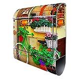 Banjado Design Briefkasten mit Motiv Grünes Fahrrad | Stahl pulverbeschichtet mit Zeitungsrolle | Größe 38x47x14cm, 2 Schlüssel, A4 Einwurf, inkl. Montagematerial