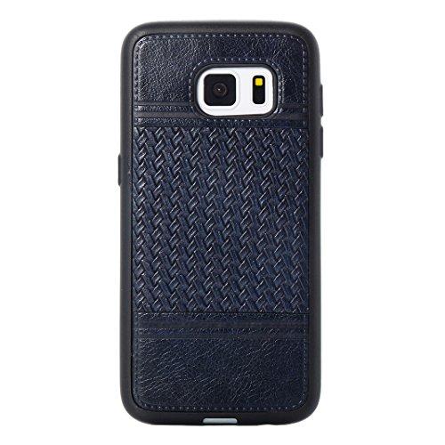 Cover Per Samsung Galaxy S7, Asnlove TPU Moda Morbida Custodia Linee Intrecciate Caso Elegante Ultra Sottile Cassa Braided Stile Tessere Case Bumper Per Samsung Galaxy S7 - Rosa Blu