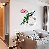 Stickers Muraux Paon De Style Chinois Bricolage, Stickers Muraux Fond D'Environnement Tv Layout, Amovibles 82Cmx99Cm