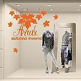 VNC0599 Adesivi Murali - Nuovi arrivi con foglie - Misure 60x50 cm - arancio - Vetrofanie per nuove collezioni, vetrine negozi, stickers, adesivi