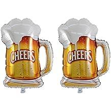 Yeahibaby Globos de Papel de Aluminio de 2 Piezas Patrones de Copas de Corona y Cerveza