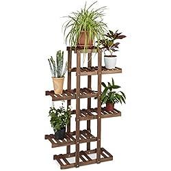 Relaxdays - Soporte de madera para plantas, 5estantes, plantas de interior, varios niveles, color marrón oscuro (alto x ancho x hondo: 125x 81x 25cm)