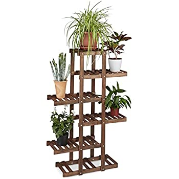 Costway 3 Tier Folding Plant Stand Bamboo Flower Pot