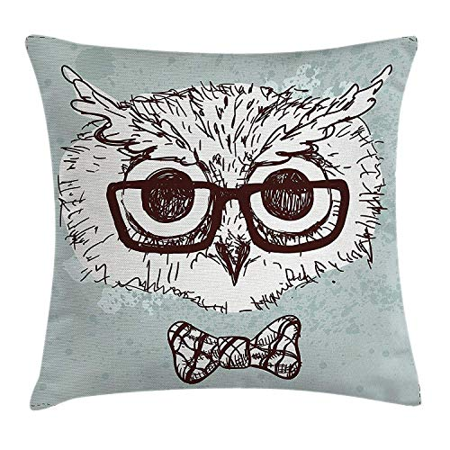 Trsdshorts Owl Throw Pillow Cushion Cover, Hand Drawn Hipster Geek Bird with Glasses Bow Tie Fun Doodle Sketch, Decorative Square Accent Pillow Case, 18 X 18 Inches, Almond Green White Dark Brown