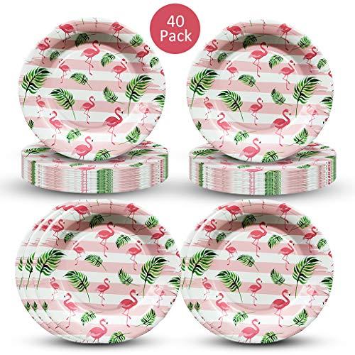 Amycute 40 Stück Flamingo Party Zubehör Flamingo Pappteller Einweg Party Geschirr Set für Hawaii Luau Party Thema Tischdekoration.