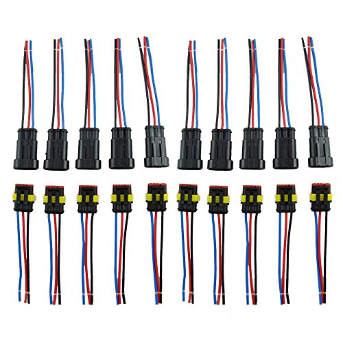 Amp Wire (IMAGINE 10 Tlg 3 Poliger Stecker Steckverbinder Wasserdicht Schnellverbinder IP67 AMP PA66 Nylon Steckdose Set mit Draht (Yellow 3 Pin with Wire))