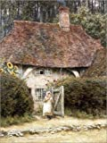 Canvas print 100 x 130 cm: At the Cottage Gate by Helen Allingham / Bridgeman Images - ready-to-hang wall picture, stretched on canvas frame, printed image on pure canvas fabric, canvas print