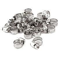 Abrazadera de manguera - SODIAL(R) Abrazadera de manguera ajustable de rango 6-12 mm engranaje abrazadera de manguera 20 piezas del tono de plata