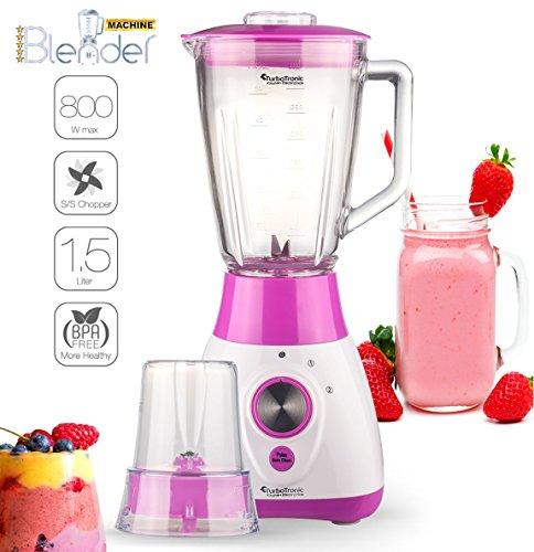 2in1 - 800 Watt Standmixer mit Mix-Behälter aus Glas 1,5 Liter inklusive Kaffeemühle, BPA-Free, 4-fach Edelstahl-Messer, Smoothie Maker, Blender, Ice-Crusher, geeignet für Smoothies, Cocktails, Suppen Pink