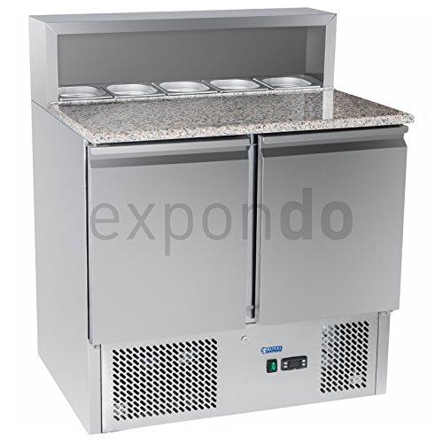 Royal Catering - RCKT-90/70-G - Pizza-Kühltisch mit Granitarbeitsplatte - 90 x 70 cm