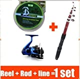 BNTTEAM 2.1M Fishing Rod + Fishing Reel + Fishing Lure + Fishing Line Fishing Combo Set Lake /Boat Fishing Designed for Beginners and All-rounder