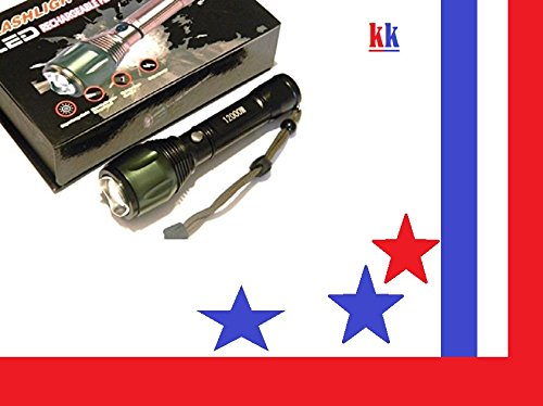 T6061 - Lampe torche rechargeable à LED, ultra puissante d'une portée de plus de 500 m. Couleur: corps noir avec tête verte ou noir
