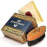 Königsbart Bartbürste in Premium Qualität - Made in Germany - mit Hochwertigen Wildschweinborsten + Gratis E-Book