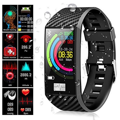 Fitness Armband, Qimaoo Fitness Tracker mit Pulsmesser, Wasserdicht IP68 fitness uhr Farbbildschirm sportuhr 1,14 Zoll Aktivitätstracker schrittzähler Armbanduhr mit Schlafmonitor und Vibration Wecker