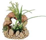 Zolux - Décor pour Aquarium en polyrésine - Rocher avec plante Taille 13 x 14 x 20 cm
