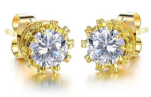 Adisaer Gold Vergoldet Muttertag Ohrstecker Brilliant Kristall Ohrringe Weiß Zirkonia Gestüt Stecker Damen Ohrhänger