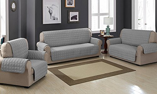 Viceroybedding Quilted Sofa Protector Throw Furniture Protector Cover Water Resistant (Two Seats, Grey)